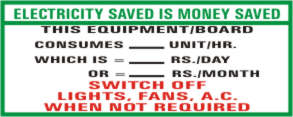 ELECTRICITY SAVED IS MONEY SAVED. THIS EQUIPMENT