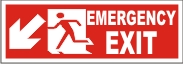 MEN EMERGENCY EXIT (DOWNWARD LEFT ARROW)