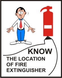 KNOW THE LOCATION OF FIRE EXTINGUISHER