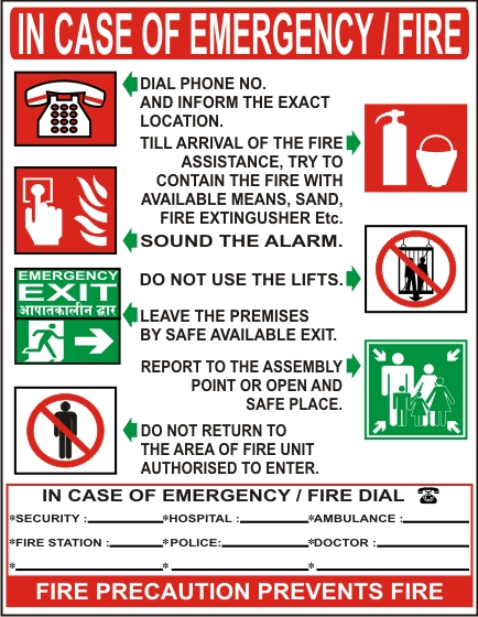 IN CASE OF EMERGENCY / FIRE