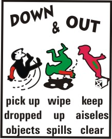 DOWN & OUT, PICK UP DROP OBJECT, WIPE UP SPILLS,..