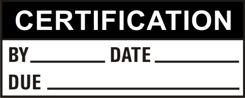 CERTIFICATION - BY, DATE, DUE