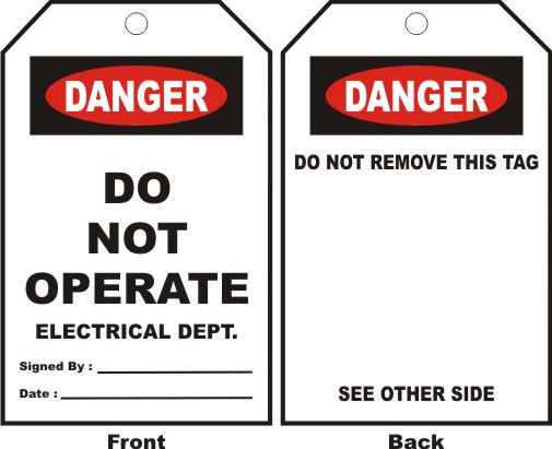 DANGER - DO NOT OPERATE ELECTRICAL DEPT. ...