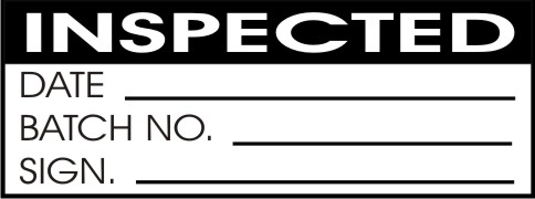 INSPECTED - DATE, BATCH NO., SIGN
