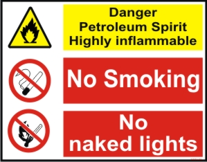 DANGER PETROLEUM SPIRIT, HIGHLY INFLAMMABLE, NO...