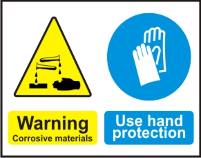 WARNNING CORROSIVE MATERIALS, USE HAND PROTECTION