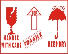 FRAGILE HANDLE WIYH CARE, KEEP DRY,TOP WITH SYMBOL