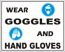 WEAR GOOGLES AND HAND GLOVES