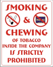 SMOKING & CHEWING OF TOBACCO INSIDE THE COMPANY...