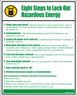 EIGHT STEPS TO LOCK OUT HAZARDUS ENERGY