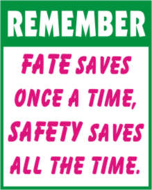 REMEMBER - FATE SAVES ONCE A TIME, SAFETY SAVES...
